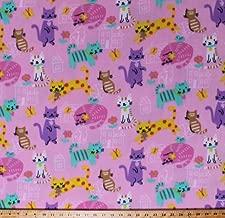 Fleece Cats Kittens Flowers Birds Butterflies Houses Pets Animals Colorful Housecats Pink Kids Children's Girls Fleece Fabric Print by the Yard (k43429-2b)