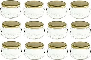 Nakpunar 12 pcs 11 oz Glass Tureen Jars with Gold Lids - 325 ml