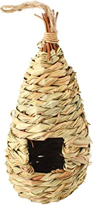 SunGrow Grass Bird Hut, Cozy Resting Place for Birds, Provides shelter from Cold Weather, Bird Hideaway from Predators, Hand-Woven Teardrop Shaped, Deal for Finch & Canary