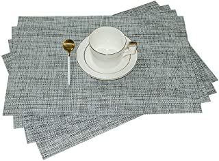GIVERARE Placemats Set of 4, Heat-Resistant Woven Vinyl Place Mat, Non-Slip Washable PVC Table Mats, Easy to Clean Premium Plastic Placemat for Dining Table, Kitchen Table (Smoky Gray)