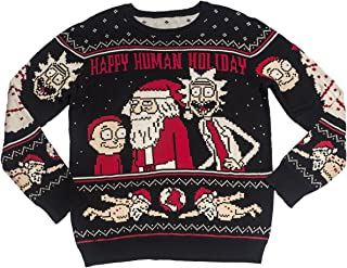 Ripple Junction Rick and Morty Adult Happy Human Holiday Medium Weight Knit Crew Ugly Sweater