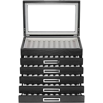 10 Piece Black Ebony Wood Pen Display Case Storage and Fountain Pen Collector Large Organizer Box with Glass Window Display Case Fathers Day Gift