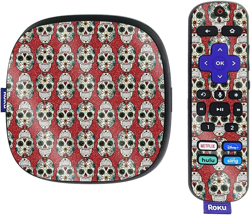 MightySkins Glossy Glitter Skin Compatible with Roku Ultra HDR 4K Streaming Media Player (2020) - Sugar Skull | Protective, Durable High-Gloss Glitter Finish | Easy to Apply | Made in The USA
