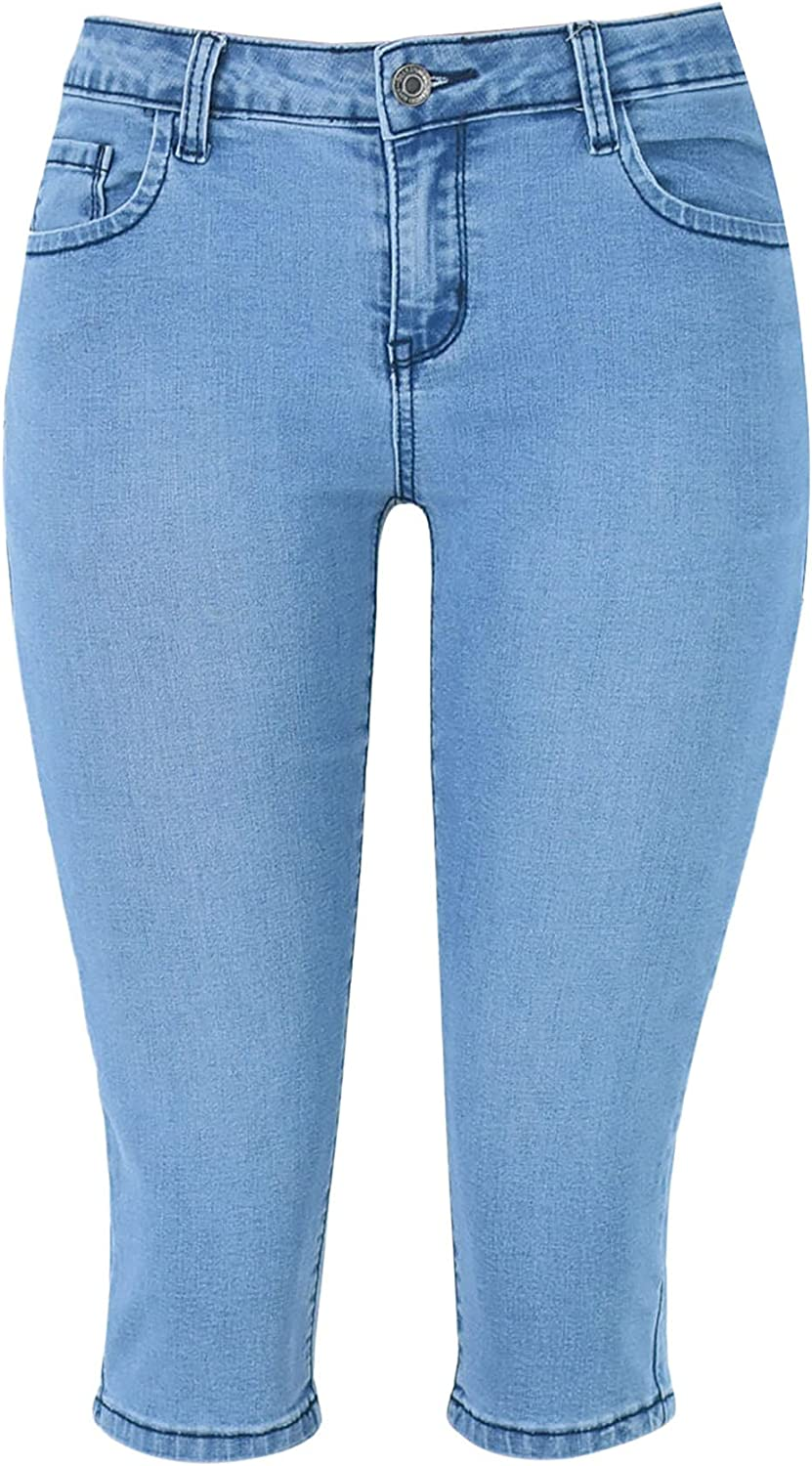 Inexpensive GUOGUOWU Women's Jean Capris Stretchy Jeans 70% OFF Outlet Capri Denim for Wome