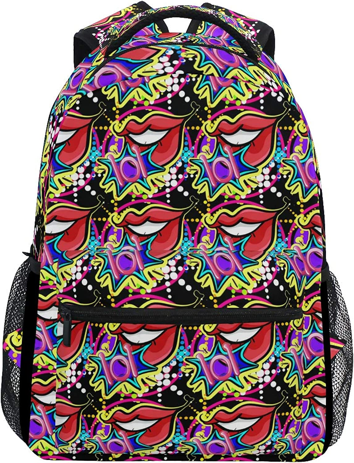Cool Graffiti Stickers Lips Large Backpack Travel Outdoor Sports Laptop Backpack for Women & Men College School Water Resistant