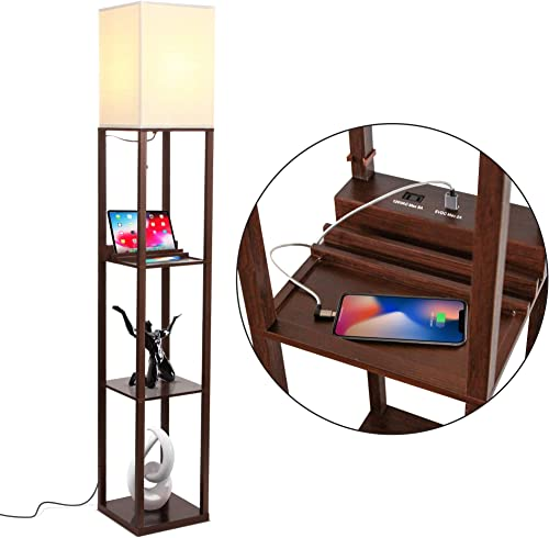 Brightech Maxwell Charger - Shelf Floor Lamp with USB Charging Ports & Electric Outlet - Tall & Narrow Tower Nightsta...