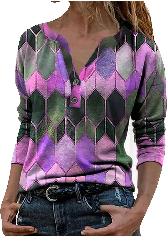 Fashion Women Geometric Pattern Print T-Shirt Lapel Zipper Long Sleeve Tops Blouse