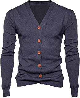 Mens Turtleneck Button Down Long Sleeve Knit Thick Sweaters Cardigan Coats with Pockets