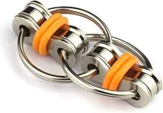 Tom's Fidgets Flippy Chain Fidget Toy Perfect for ADHD, Anxiety, and Autism - Bike Chain Fidget Stress Reducer for Adults and Kids - Orange