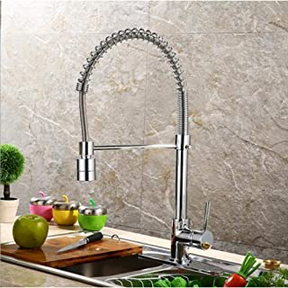 TJJL Kitchen Faucet Pull-Down Spring Kitchen Faucet Deck Installation Black Bathroom Kitchen Hot And Cold Water Faucet Brass Hands-Free Shower With Lock