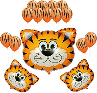 CUEA 16Pack Kids Birthday Party Decorations 30inch Tiger Balloon 12inch Latex Balloons for Farm Animal Theme Party Kid Birthday Party Favors (Tiger)