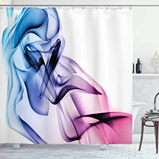 Ambesonne Abstract Shower Curtain, Abstract Artwork with Colorful Smoke Flow Swirl Contemporary Artwork, Cloth Fabric Bathroom Decor Set with Hooks, 70