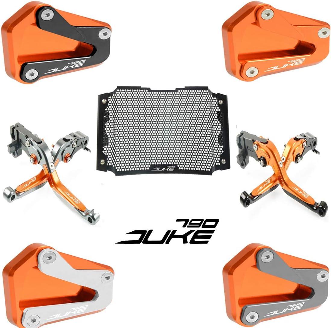 Duke 790 Motorcycle Kickstand Side Stand Enlarger Extension Enlarger Pate Pad For KTM DUKE 790 2017 2018 2019 Orange+Silver)