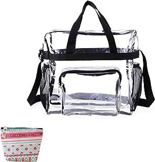 Cyzebemon Clear Tote Bag,Waterproof Lightweight Stadium Travel & Gym Shoulder Bag