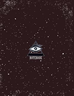 Notebook: All seeing eye on brown cover and Lined pages, Extra large (8.5 x 11) inches, 110 pages, White paper