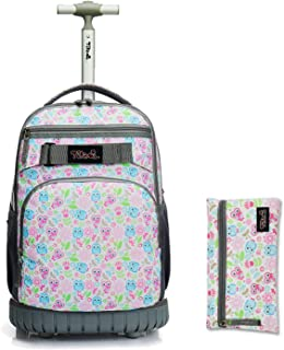 Rolling Backpack 18 inch with Pencil Case Wheeled Laptop Bag,Owl Cute