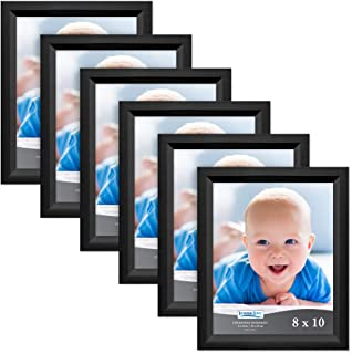Icona Bay 8x10 Picture Frame (6 Pack, Obsidian Black Wood Finish), Black Photo Frame 8 x 10, Composite Wood Frame for Walls or Tables, Set of 6 Cherished Memories Collection