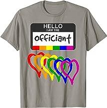 Rainbow Flag Hearts Wedding Party Hello Name Badge Officiant T-Shirt