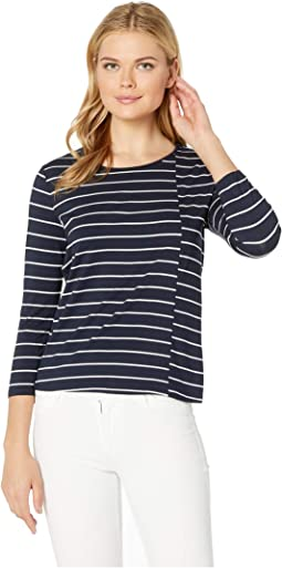 0339786b2f24 Vince chalk stripe 3 4 sleeve crew top | Shipped Free at Zappos
