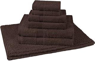 JustLINEN 7 Piece Bath Towel and Chenille Bath Mat Set - Premium Ultra Soft, High Absorbency Combed Cotton Bath Towels 550...
