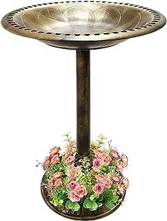 SUNYPLAY 28 Inch Bird Bath,Outdoor Garden Resin Pedestal Bird Bath Decoration with Flower Planter Base,Weather Resistant Lightweight Birdbath Yard Statue (Copper)