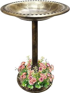 SUNYPLAY 28 Inch Bird Bath,Outdoor Garden Resin Pedestal Bird Bath Decoration with Flower Planter Base,Weather Resistant Ligh