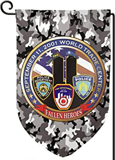 ZBGIGB 911 World Trade Center Fallen Heroes Home Flag Outdoor Garden Flags Decorative 12.5x18 Inch Pattern Double-Sided Printing Banner