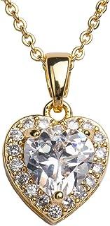 LuckyLy Collar para Mujer de Corazón con Cristal y Zirconia Cúbica, Baño de Oro 14k o Rodio Color Plata – Ideal como Regal...