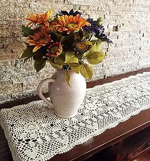 Damanni Rectangular Cotton Handmade Crochet Lace Table Runner Doilies Table Dresser Scarf Décor,16 Inch by 63 Inch,Beige