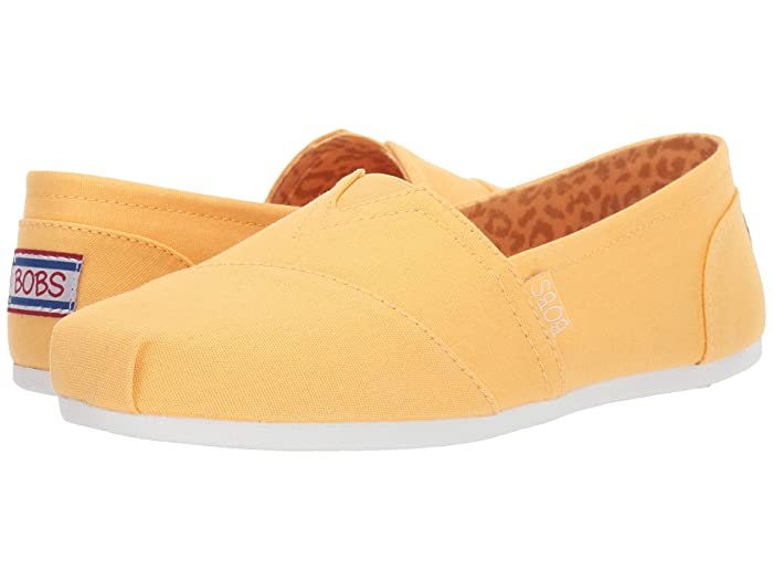 BOBS from SKECHERS  Bobs Plush - Peace Love (Yellow) Womens Flat Shoes