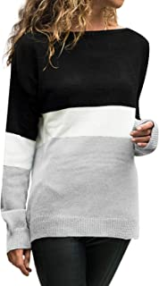 An Ping Women's Knit Wear Casual Long Sleeve O-Neck Patchwork Loose Top Blouse