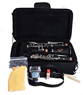 NEW! Herche Superior Bb Clarinet M2 - Best for Students - Durable Nickel-Plated Keys - All Clarinet Accessories Included: Plush Lined Case, Treated Pads, Cork Grease, Clarinet Swabs and #2 Rico Reeds