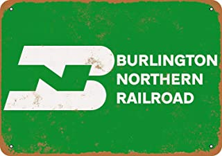Anjoes 8 x 12 Metal Sign - Burlington Northern Railroad - Vintage Decorative Tin Sign
