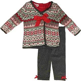 Infant Girls Christmas Tee Shirt & Cross Stitch Sweater Snowman 3 Piece Outfit
