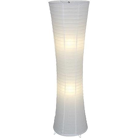 Naeve Leuchten 2003623 Lampadaire Himalya avec pied métallique et abat-jour en papier Blanc hauteur 123 cm diamètre 30 cm