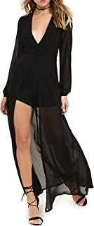 May&Maya Women's Surplice Bodice Romper with Sheer Maxi Skirt
