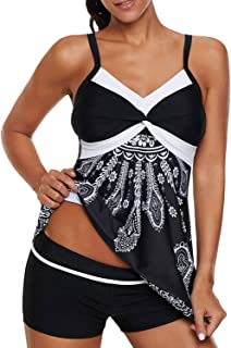 c51d9058048e3 Dearlove Womens Sexy Halter Patchwork Printed Open Back Tankini Top Set Two  Piece Swimsuits