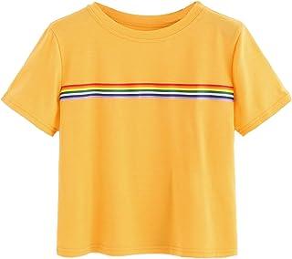 Romwe Women`s Summer Rainbow Color Block Striped Crop Top School Girl Teen Tshirts