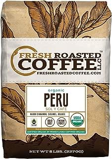 Fresh Roasted Coffee LLC, Organic Peruvian Sol y Café Coffee, USDA Organic, Medium Roast, Whole Bean, 5 Pound Bag