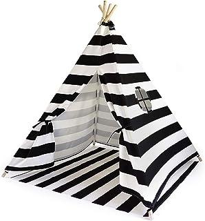 Hej Lønne Barn tipi, svart vitt randigt tält, ca 120 x 120 x 150 cm stort, lektält med golvtak och fönster, inklusive påse...