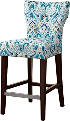 """Madison Park Avila 38.25"""" Counter Height Barstool with Backrest Modern Solid Wood, Metal Kickplate Footrest, Upholstered Foam Seat, Linen Pub Chair, See below, Blue Damask"""