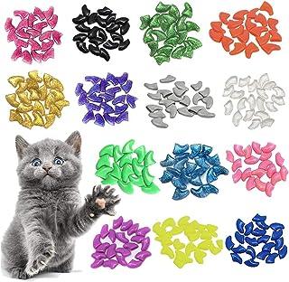 اغطية اظافر للقطط من 100 قطعة، اغطية اظافر ناعمة وملونة لمخالب القطط الاليفة (S)