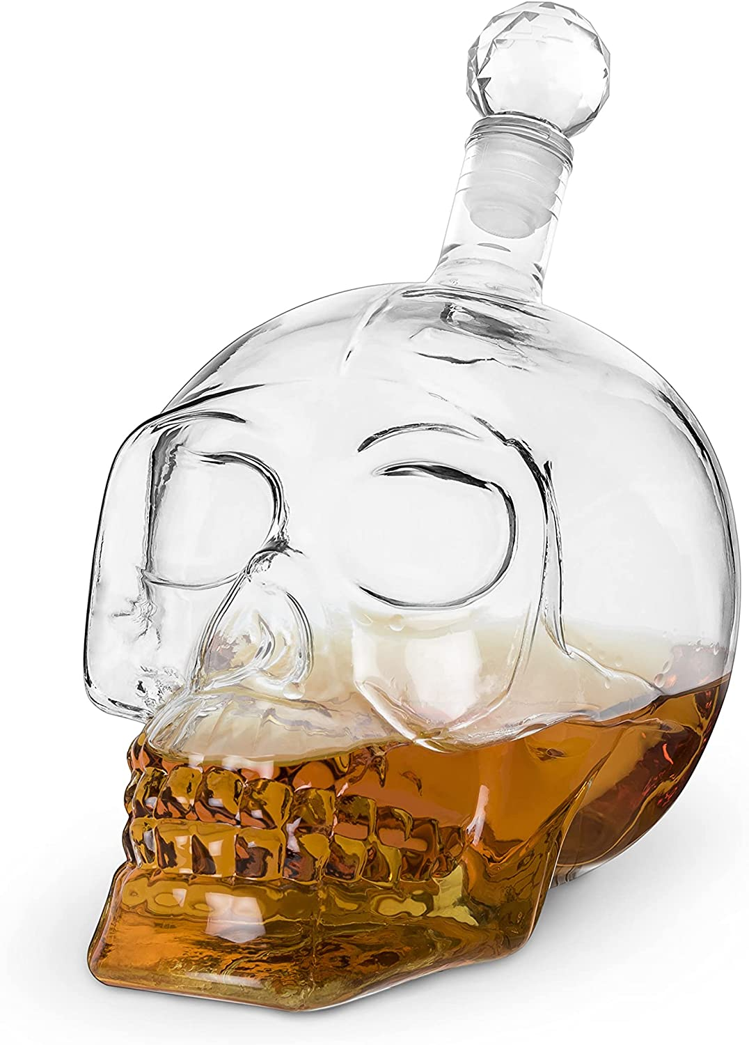 Foster & Rye Skull Liquor Decanter, Clear Glass Skull Shaped Whiskey Decanter with Stopper, 25 Ounce Capacity, Set of 1