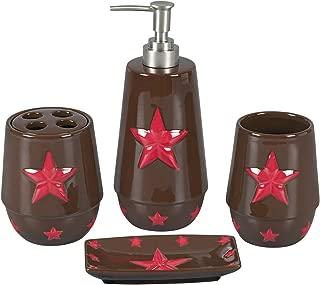 HiEnd Accents Western Star Bathroom Set, Red
