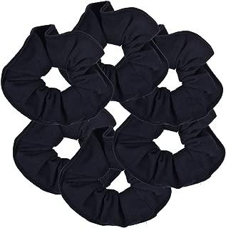 6 Pack Large Solid Scrunchies Hair Elastics-Navy