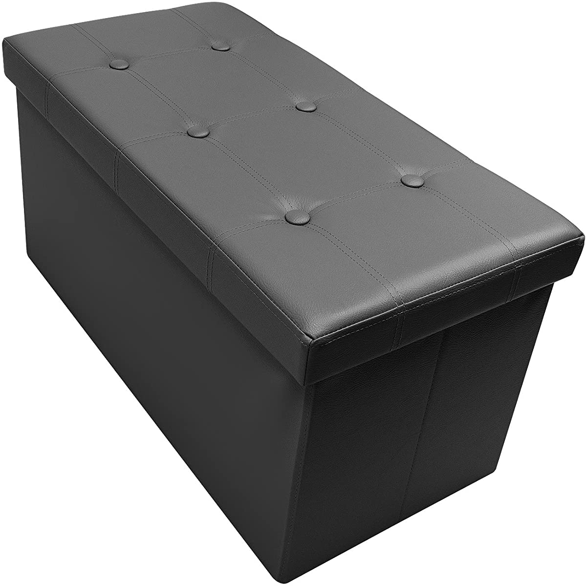 Sorbus Storage Bench Chest – Collapsible/Folding Bench Ottoman with Cover – Perfect Hope Chest, Pouffe Ottoman, Coffee Table, Seat, Foot Rest, and More – Contemporary Faux Leather (Black)