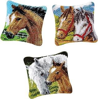 kesoto 3Pcs Latch Hook Kits DIY Pillowcase Sofa Cushion Rug Making Handicraft Horse