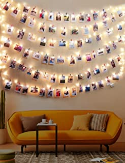 MeiGuiSha Warm White Light Photo Clip String Lights 23Ft - 70 LED Fairy String Lights with 50 Clear Clips for Hanging Pictures, Perfect Dorm Bedroom Wall Decor Wedding Christmas Decoration