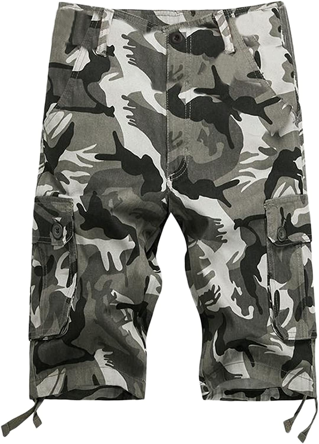 KAILUN Men's Overalls Pants Summer Outdoor Hiking Fishing Solid Color Multi-Pocket Shorts Casual Men's Loose Cotton Shorts