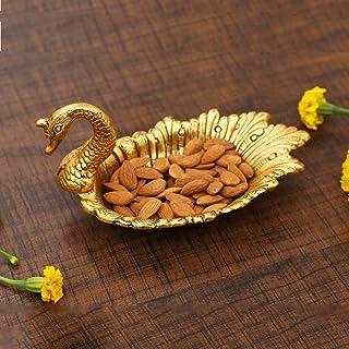 Craftam Metal Swan Shape Dry Fruit Tray - 1 Piece, Gold